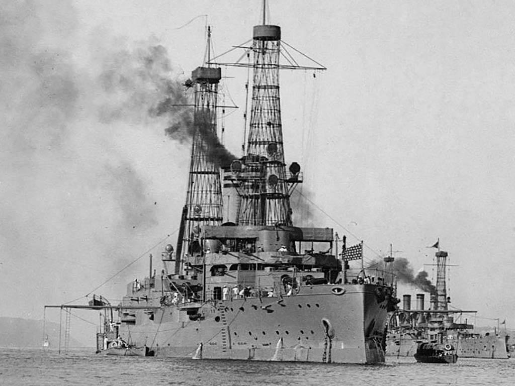 Ship with smoke