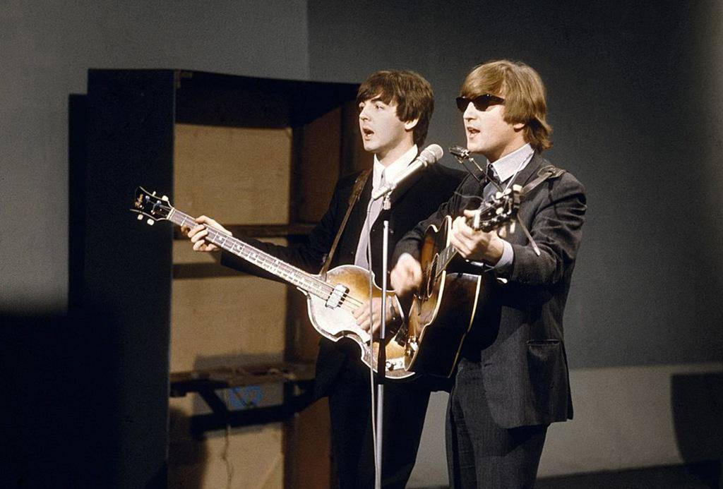 Lennon playing with McCartney