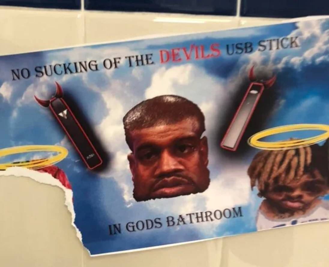 bathroom meme sign says