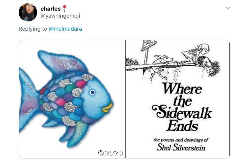 a copy of Where The Sidewalk Ends and Rainbow Fish