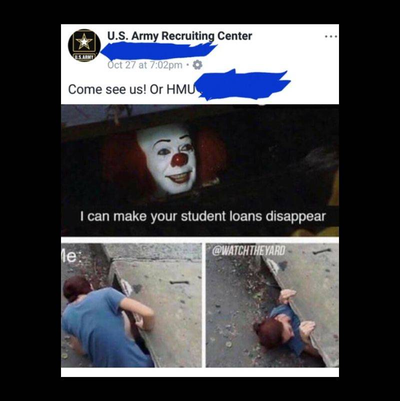 U.S. Army Recruitment center uses a meme to promote U.S. Army enlistment