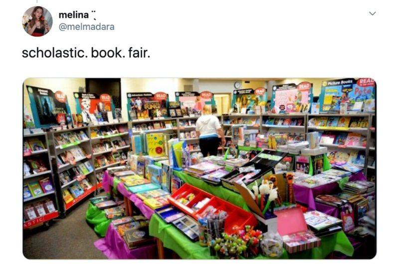 a tweet about the Scholastic Book Fair