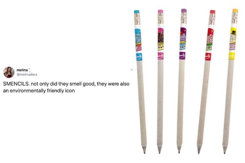 Tweet: Smencils: not only did they smell good, they were also an environmentally friendly icon