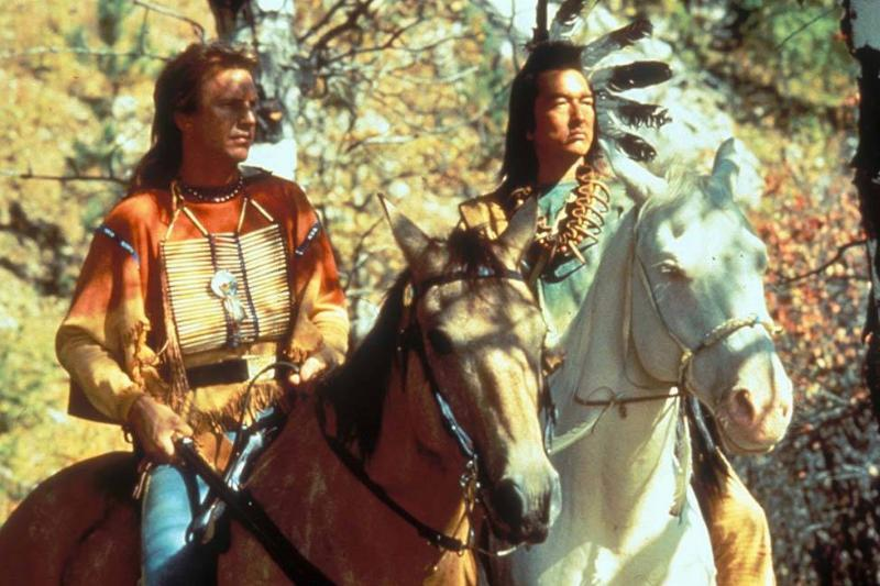 Costner and Greene on horses