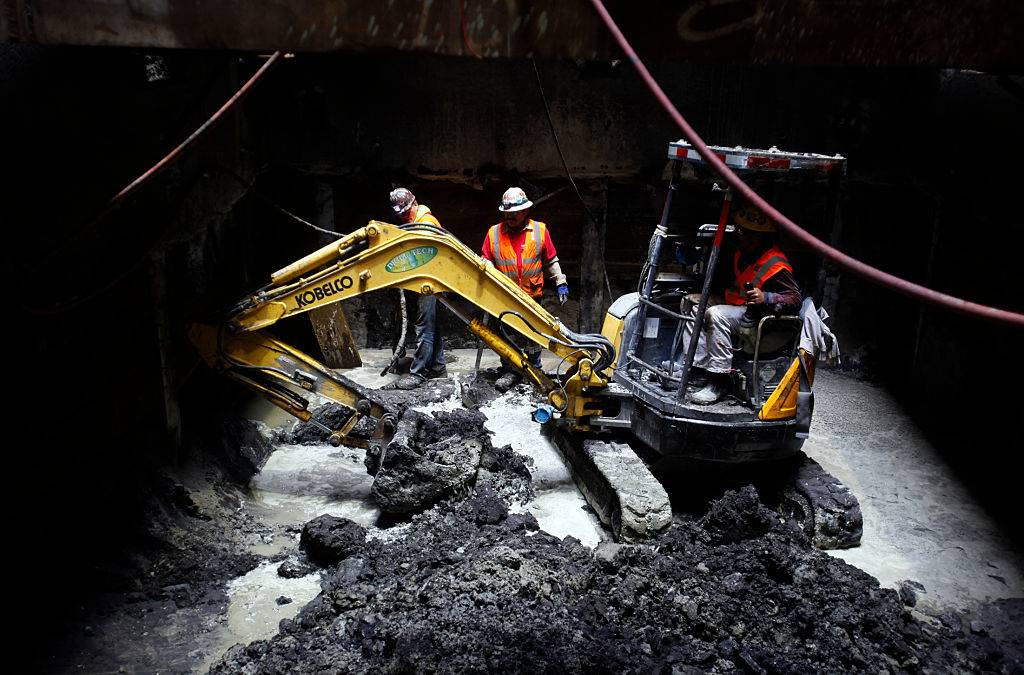 Construction crews continue to dig an exploratory shaft