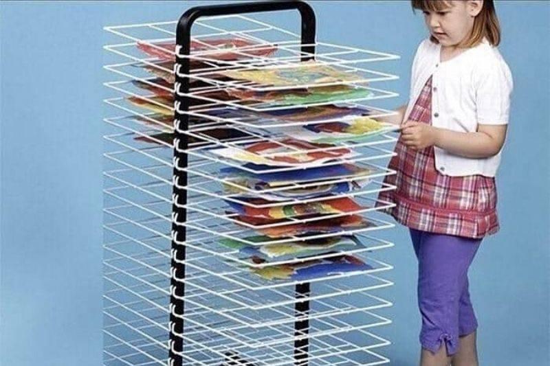 elementary school drying rack for art