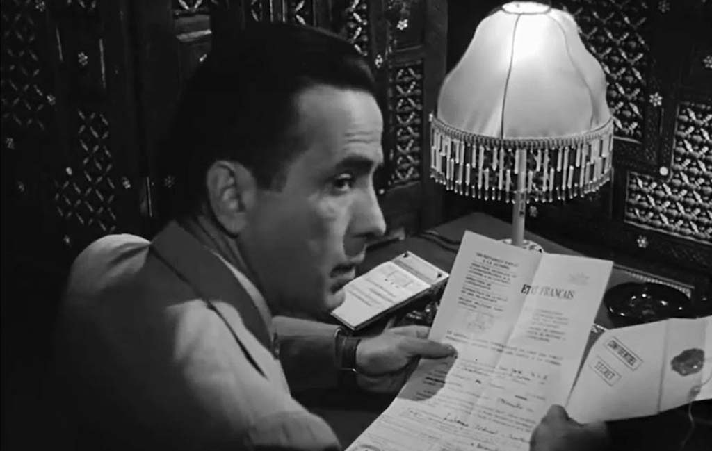 Bogart with Letters of Transit