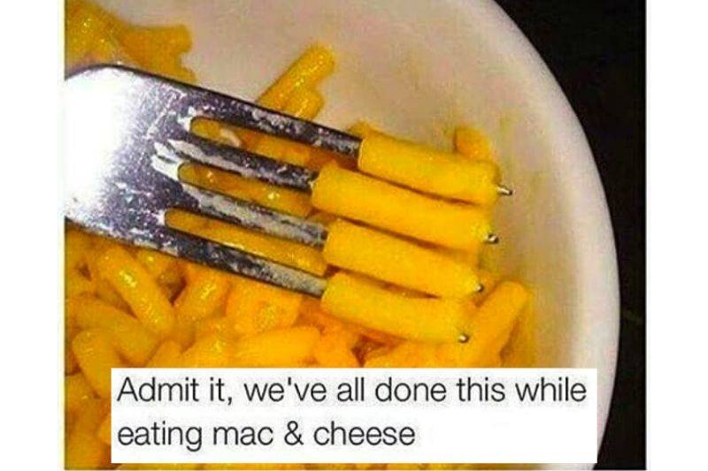 mac and cheese split noodles on a fork