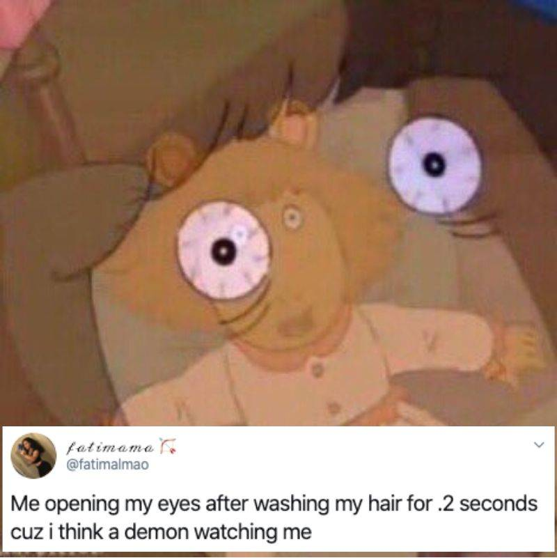 opening eyes in the shower because of the demons