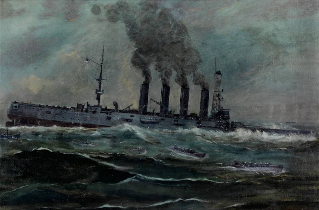Painting of ship sinking