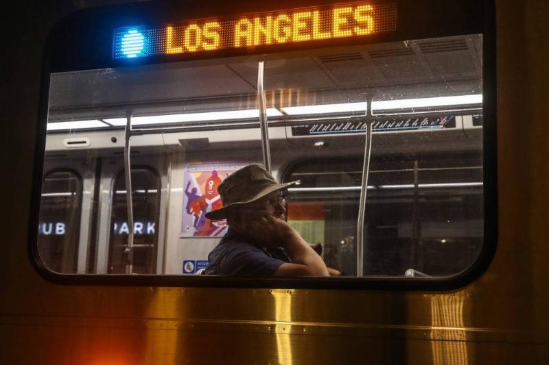 A man in a subway train.