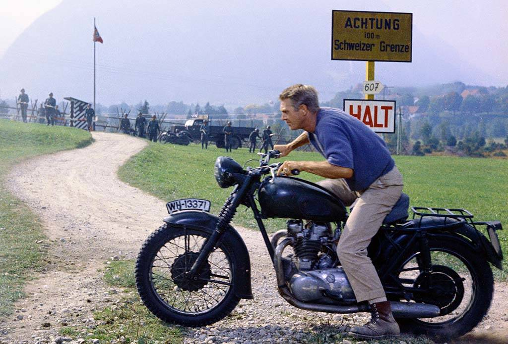 McQueen on a motorcycle