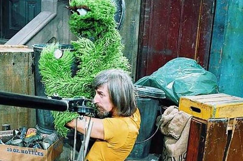 Caroll Spinney using a puppet