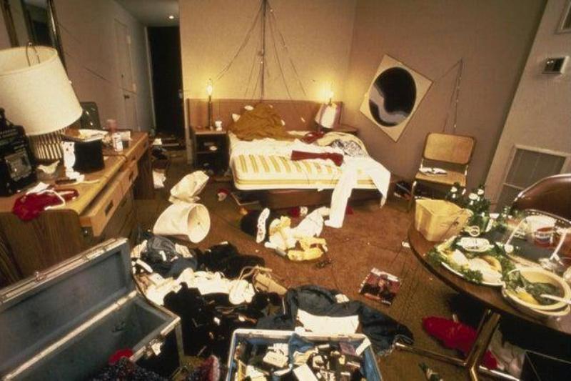 Destroyed hotel room