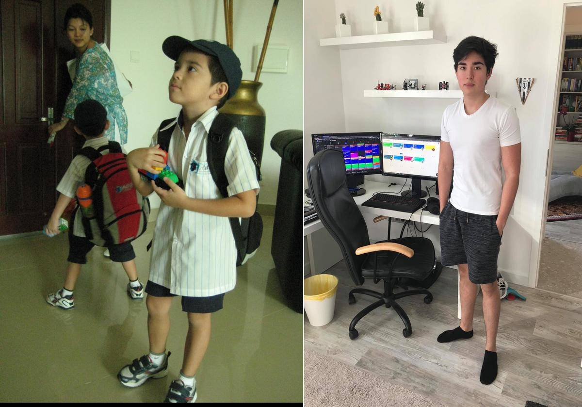 boy on first day of kindergarten vs. last day of highschool