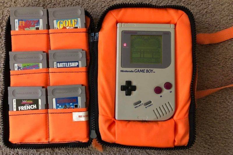 an old game boy in perfect condition
