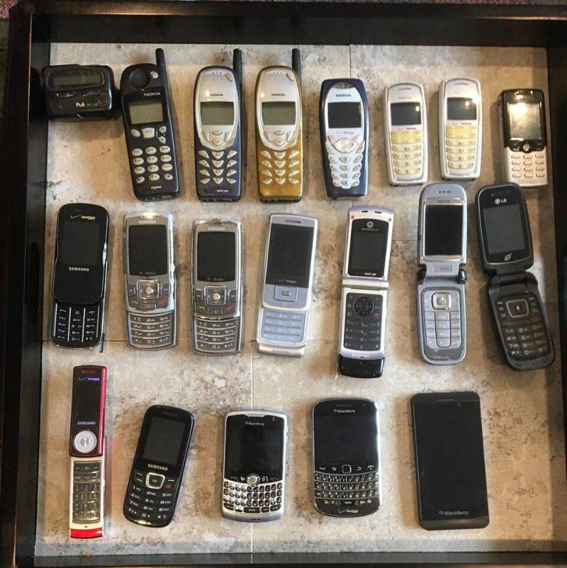 a collection of old cellphones