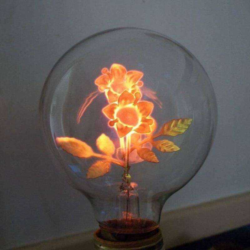 lightbulb with a flower filament
