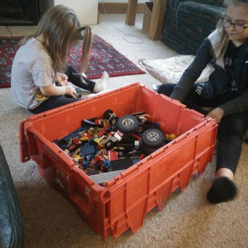 kids playing with their dad's lego