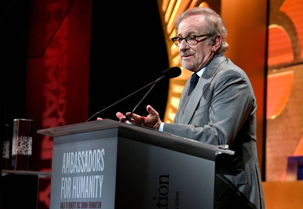 Spielberg giving a speech