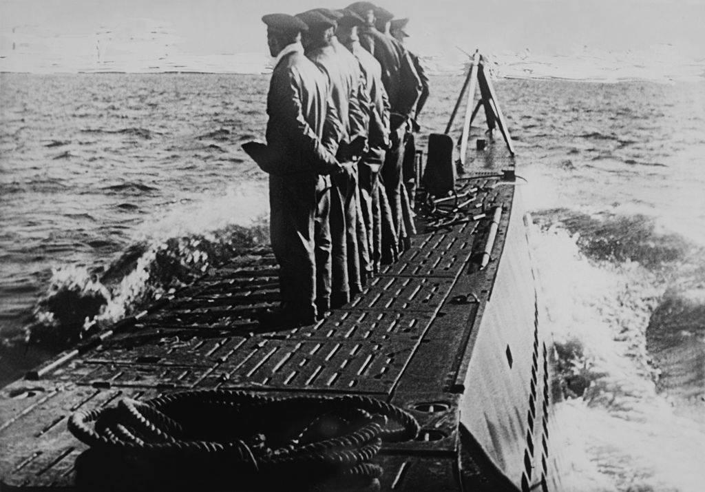 Men standing on the deck