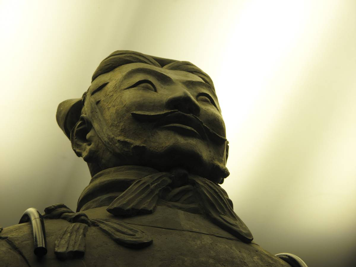 A clay warrior's head is seen.