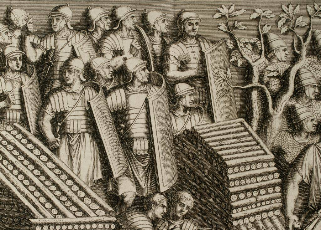 Engraving of Roman soldiers
