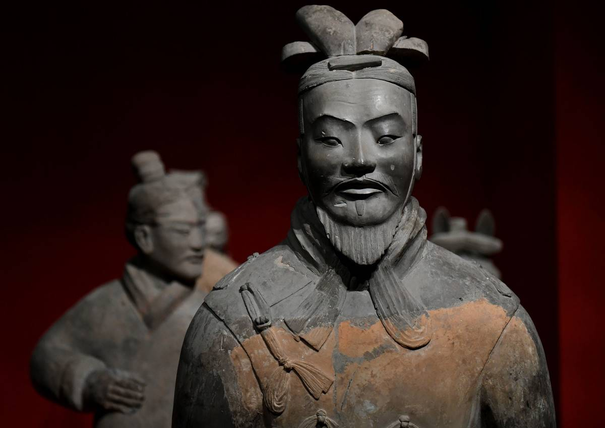 Terracotta warriors are displayed at an exhibition titled