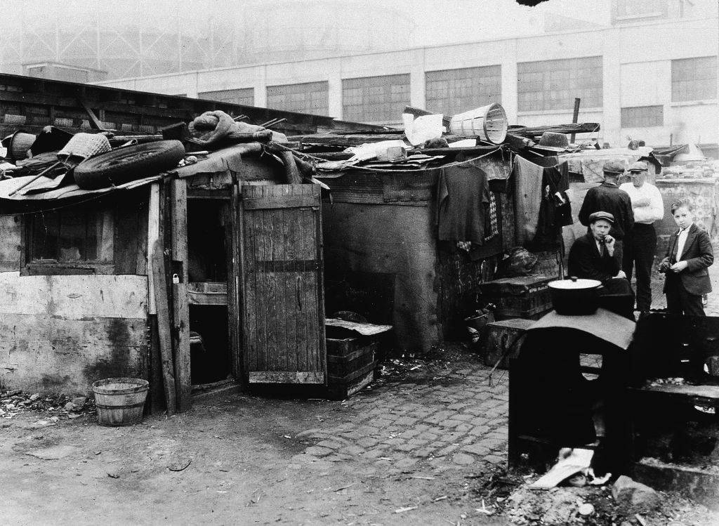 People in a shanty town
