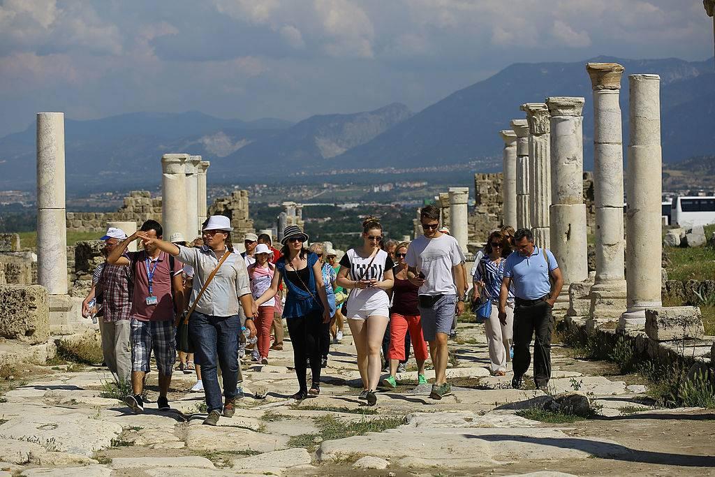 Tourists walking through the city