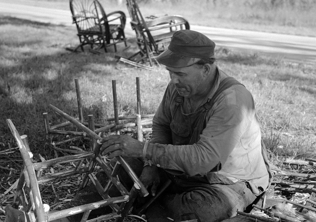 Man making chairs