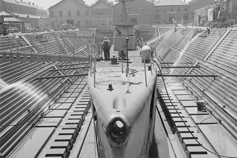 Submarine docked