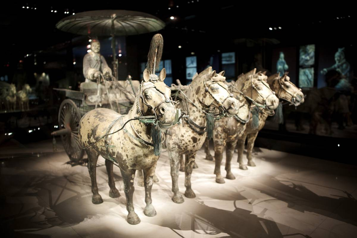 A bronze chariot statue is seen at the Terracotta Warriors Museum.
