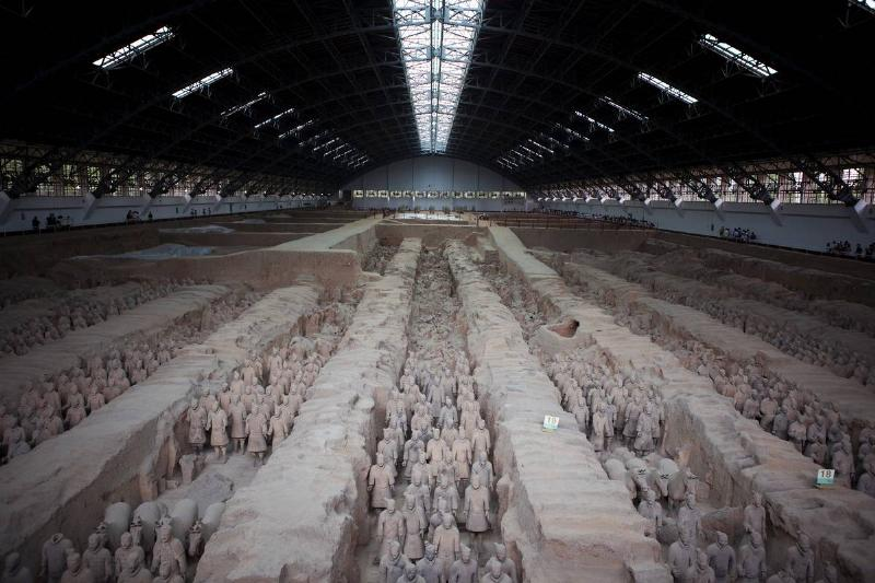 A photo shows one of the tombs in Qin Shi Huang's burial site.