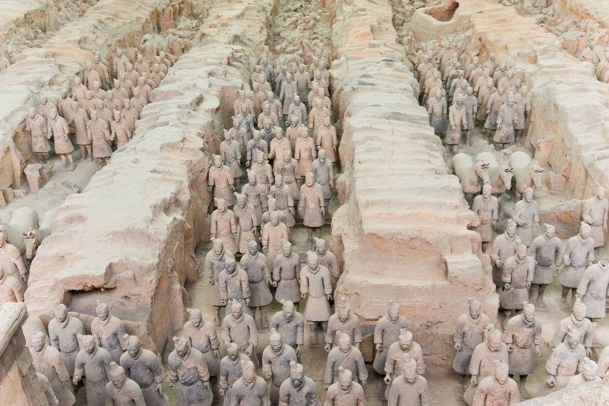 Terracotta soldiers are dug up in moats.