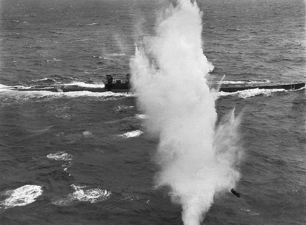 Explosion in front of submarine