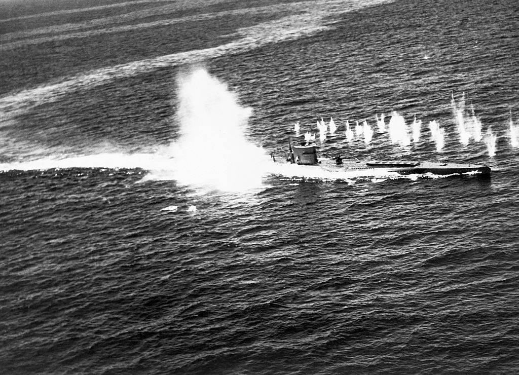 Submarine being hit by charges