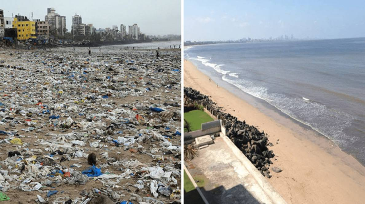beach before and after a man spent weeks cleaning up the trash