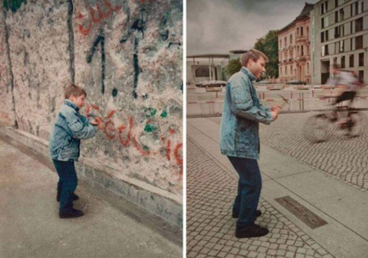 photo of young boy picking at the Berlin wall v.s. him returning as an adult after it was taken down