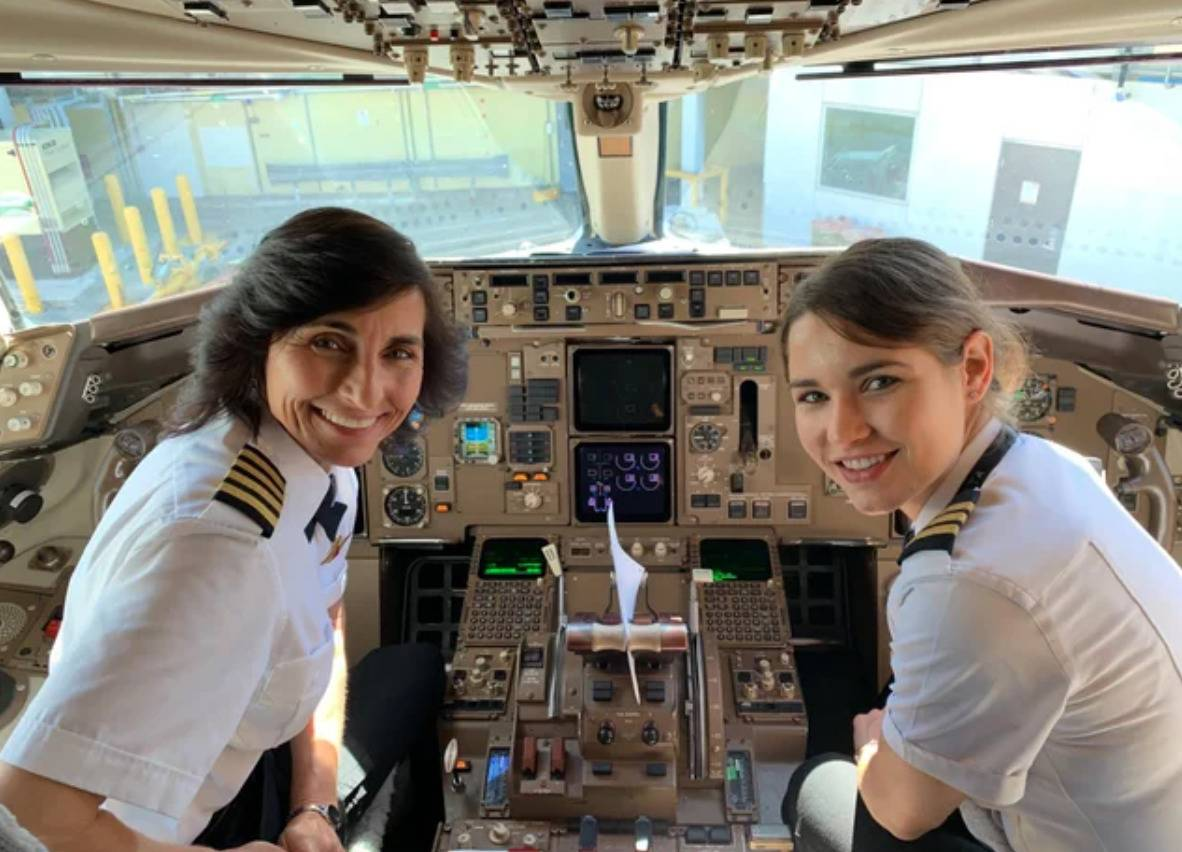mother and daughter in cockpit