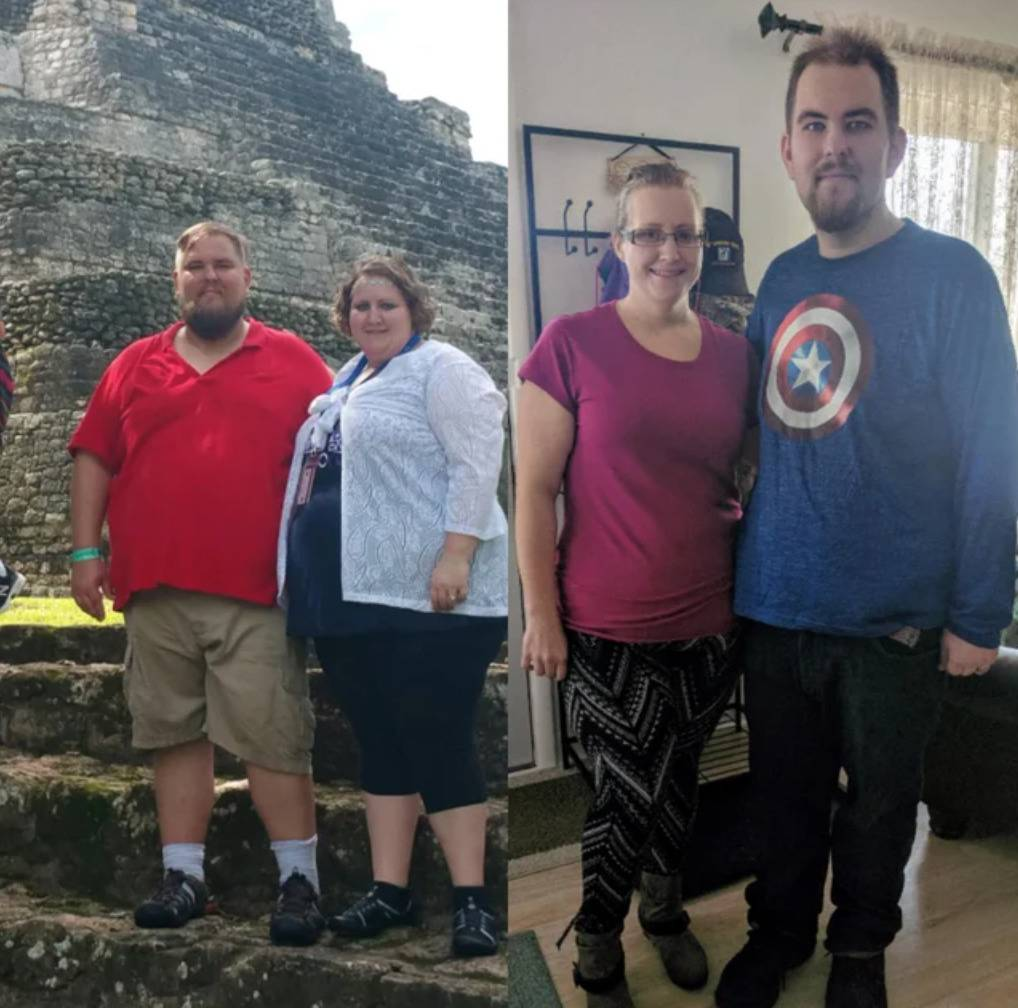 couple before and after both losing a large amount of weight