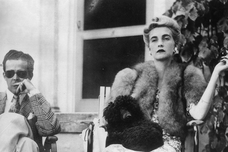 barbara hutton with robert sweeney and a small black poodle