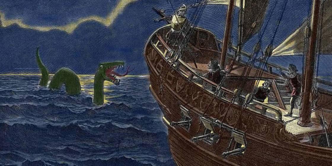 Sea serpent coming toward ship