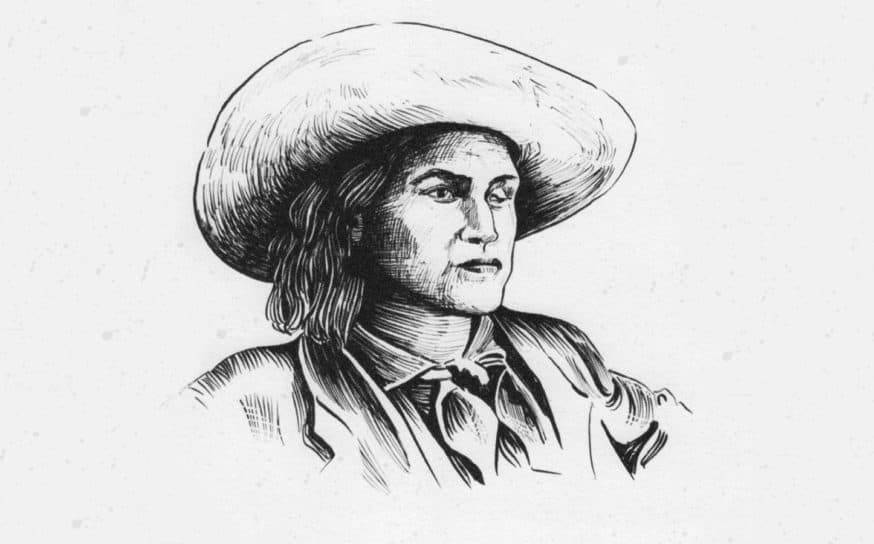 A sketch of Charley shows her in a hat and male attire with shoulder-length hair.