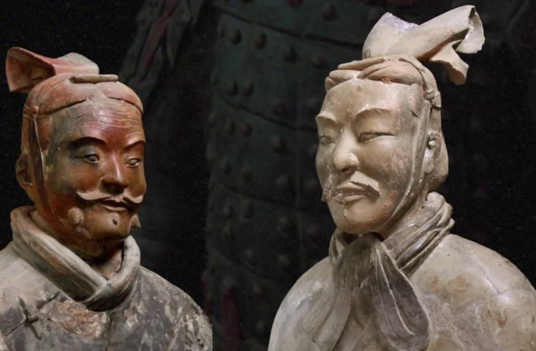 Terracotta warriors have painted faces.