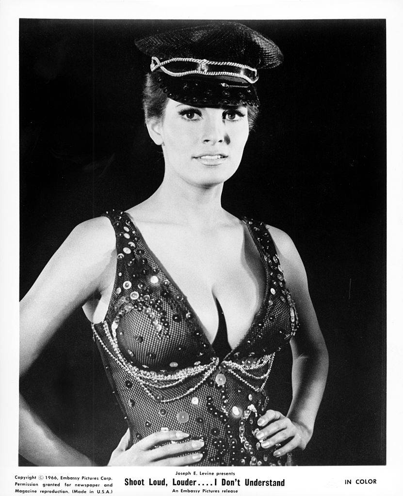 1966: Actress Raquel Welch stars in 'Spara forte, piu forte, non capisco', or 'Shoot Loud, Louder... I Don't Understand'.
