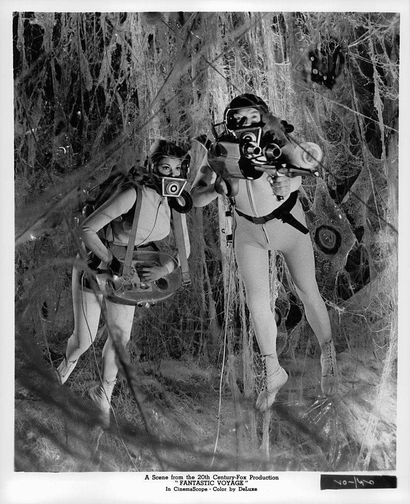 Raquel Welch and Stephen Boyd floating inside body in a scene from the film 'Fantastic Voyage', 1966.