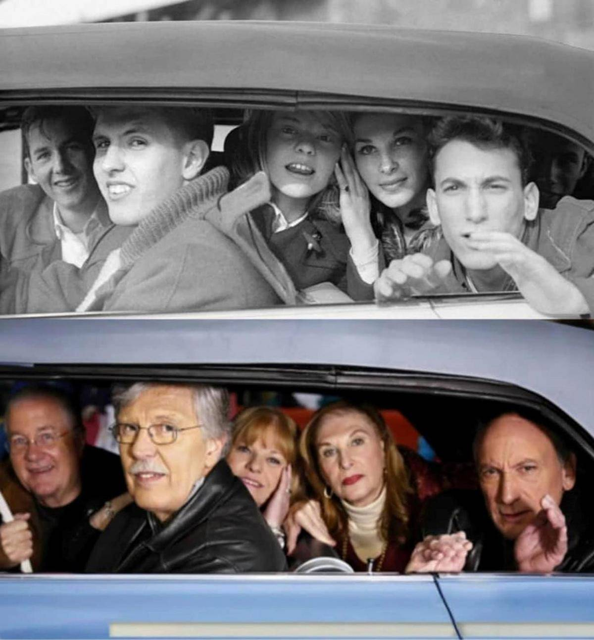 photo of 5 teams in a car recreated with same group of people years later