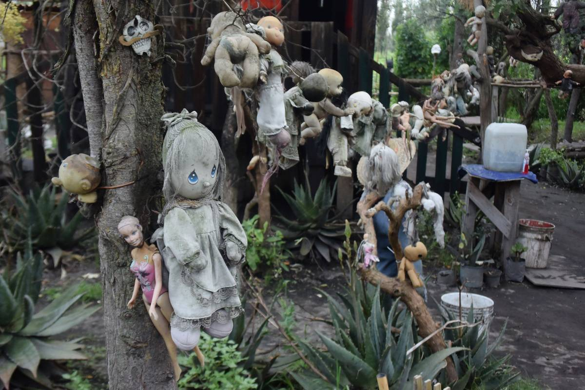 dolls hanging on trees and cabins