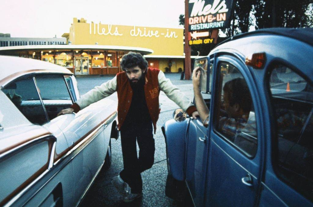 Lucas on the set of American Graffiti